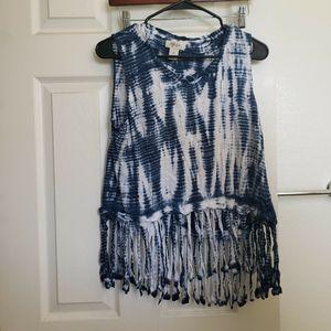 Blue tie dye fringe top